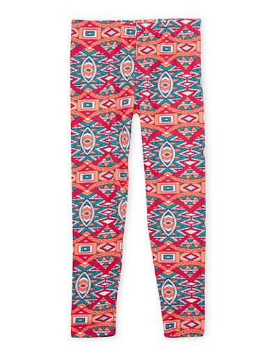 Girls 7-16 Leggings with Multicolored Print,FUCHSIA,large