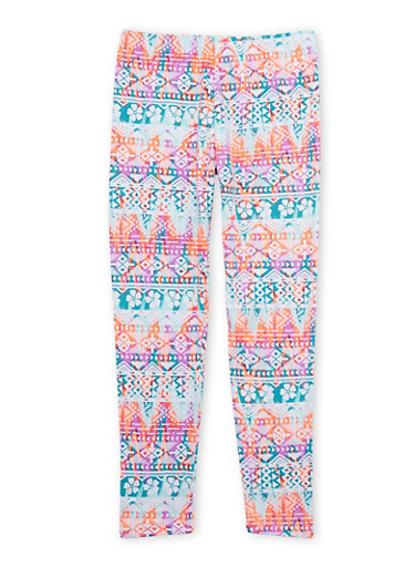 Girls 7-16 Printed Leggings in Brushed Knit,TEAL,large