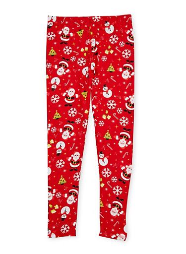 Girls 7-16 Soft Knit Christmas Leggings,CHERRY,large