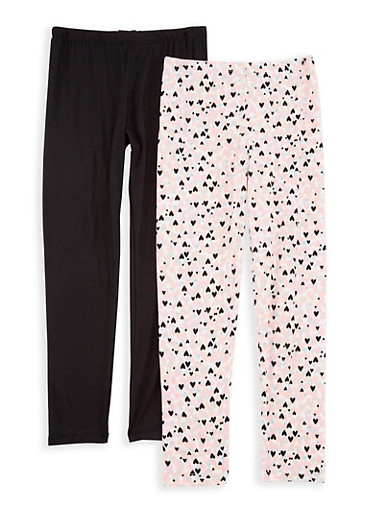 Girls 7-16 Heart Print and Solid Leggings Set,BLK/VANILLA,large