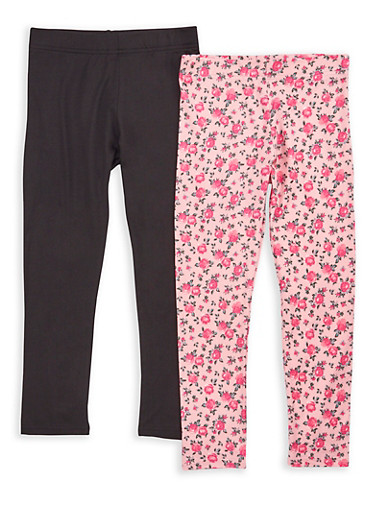 Girls 7-16 Rose Print and Solid Leggings,BLACK/PINK,large