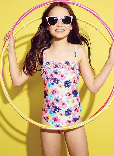 Girls 7-16 Floral Print One-Piece Swimsuit with Ruffle Trim,MULTI COLOR,large