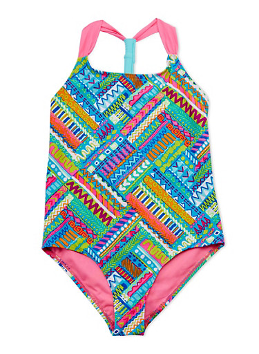 Girls 7-16 Printed One Piece Bathing Suit,PINK,large