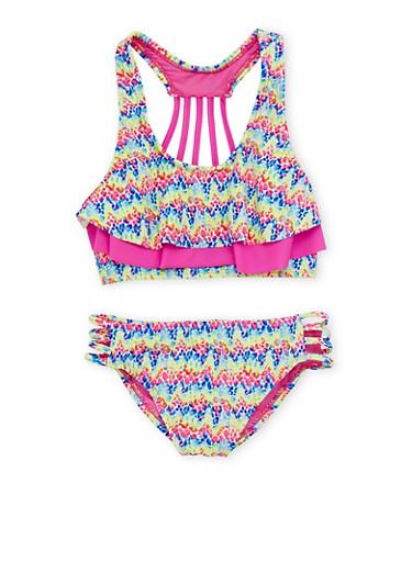 Girls 7-16 Printed Flounce Bikini Set with Caging,PINK,large