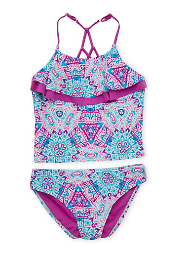 Girls 7-16 Printed 2 Piece Bathing Suit Set with Caged Back,PURPLE,large