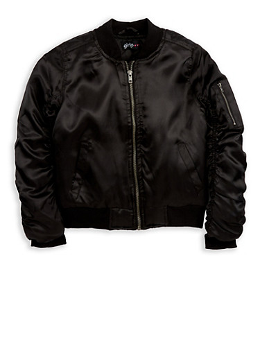 Girls 4-6x Black Satin Bomber Jacket,BLACK,large