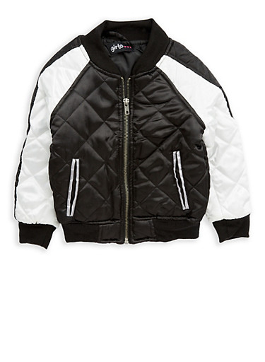 Girls 4-6x Quilted Color Block Bomber Jacket,BLACK/WHITE,large