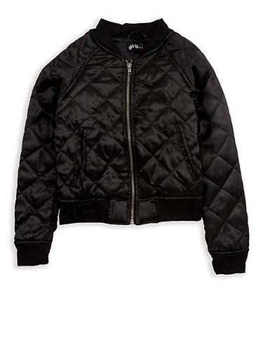 Girls 4-6x Black Quilted Satin Bomber Jacket,BLACK,large