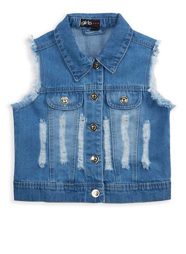 Girls 4-6x Distressed Denim Vest,DENIM,large