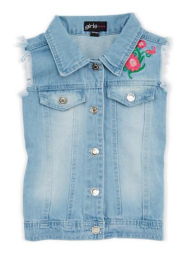 Girls 4-6x Floral Embroidered Denim Vest,LT DENIM,large