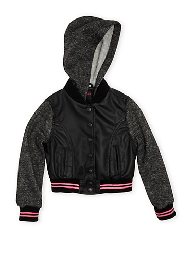 Girls 4-6x Hooded Jacket in Faux Leather and Fleece with Stripe Accent,BLACK,large