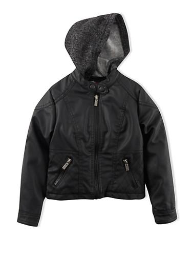 Girls 4-6x Faux Leather Jacket With Fleece Hood,BLACK,large