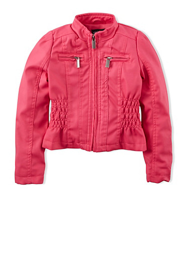 Girls 4-6x Faux Leather Jacket with Ruched Sides,FUCHSIA,large