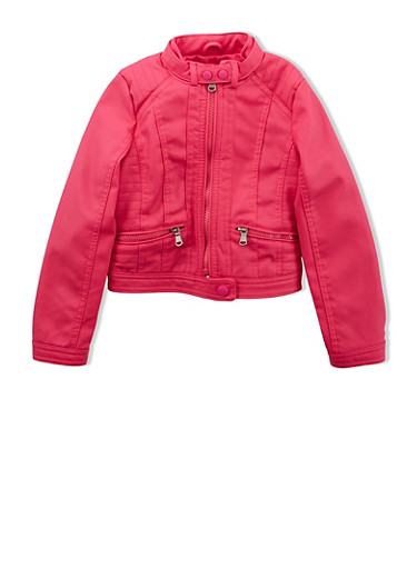 Girls 4-6x Faux Leather Jacket with Side Stitching,FUCHSIA,large