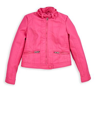 Girls 4-6x Fuchsia Faux Leather Moto Jacket,FUCHSIA,large