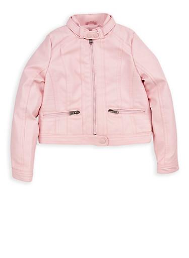 Girls 4-6x Pink Faux Leather Moto Jacket,PINK,large