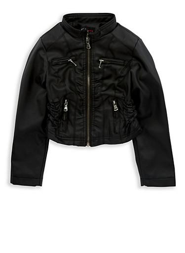 Girls 4-6x Black Cinched Waist Faux Leather Jacket,BLACK,large