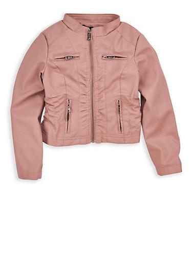 Girls 4-6x Mauve Cinched Waist Faux Leather Jacket,MAUVE,large