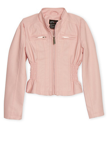 Girls 4-6X Blush Cinched Faux Leather Moto Jacket,BLUSH,large