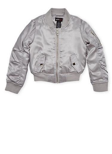 Girls 4-6x Satin Bomber Jacket with Ruched Sleeves,SILVER,large
