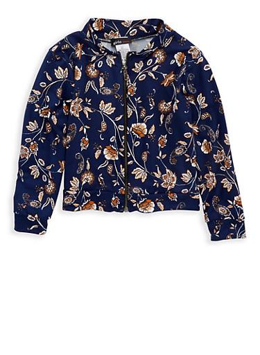 Girls 4-6x Navy Paisley Print Zip Jacket,NAVY,large