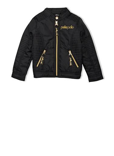 Girls 4-6x Pelle Pelle Moto Jacket with Ribbed Panels,BLACK,large