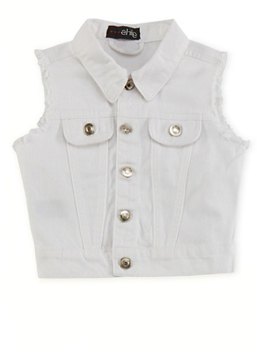 Girls 7-16 Dyed Denim Vest with Button Front,WHITE,large