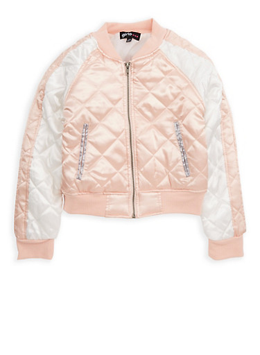 Girls 7-16 Quilted Color Block Bomber Jacket,BLUSH,large