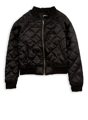 Girls 7-16 Black Quilted Satin Bomber Jacket,BLACK,large