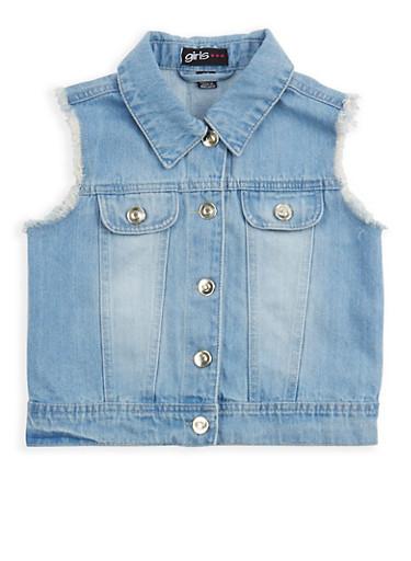 Girls 7-16 Frayed Denim Vest,DENIM,large