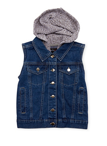 Girls 4-16 Denim Vest with Knit Hood,DENIM,large