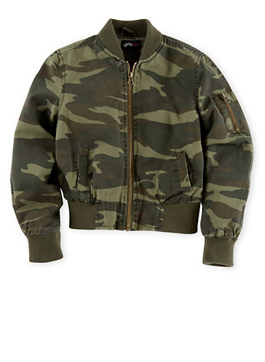 Girls 7-16 Camouflage Bomber Jacket,CAMOUFLAGE,large