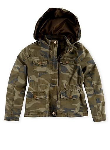 Girls 7-16 Hooded Camouflage Cargo Jacket,OLIVE,large