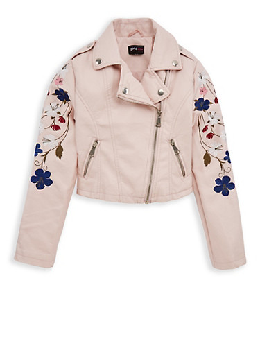 Girls 7-16 Embroidered Mauve Faux Leather Jacket,MAUVE,large