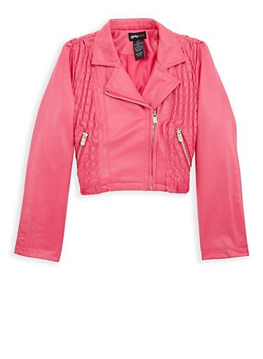 Girls 7-16 Ruched Side Moto Jacket,FUCHSIA,large