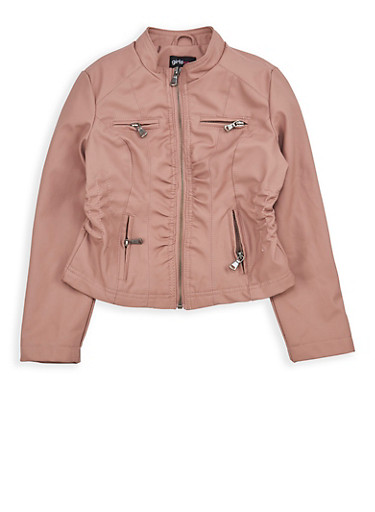 Girls 7-16 Cinched Waist Faux Leather Jacket,MAUVE,large