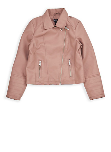 Girls 7-16 Mauve Faux Leather Moto Jacket,MAUVE,large