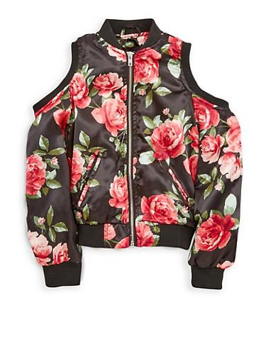 Girls 7-16 Floral Cold Shoulder Bomber Jacket,BLACK,large