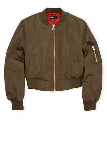 Girls 7-16 Bomber Jacket,OLIVE,large