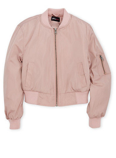 Girls 7-16 Bomber Jacket,MAUVE,large