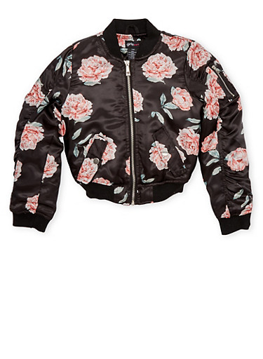 Girls 7-16 Satin Bomber Jacket with Floral Print and Flap Pockets,BLACK,large