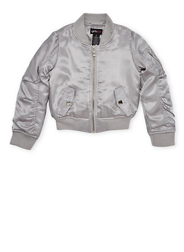 Girls 7-16 Satin Bomber Jacket with Ruched Sleeves,SILVER,large