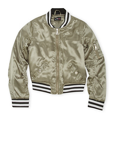 Girls 7-16 Striped Trim Satin Bomber Jacket,OLIVE,large
