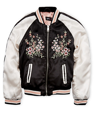 Girls 7-16 Satin Bomber Jacket with Floral Embroidery,BLACK,large