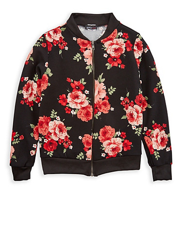 Girls 7-16 Black Floral Print Baseball Jacket,BLACK,large