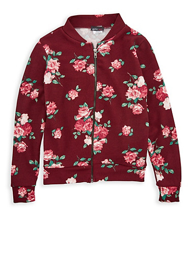 Girls 7-16 Burgundy Floral Print Baseball Jacket,MAUVE,large