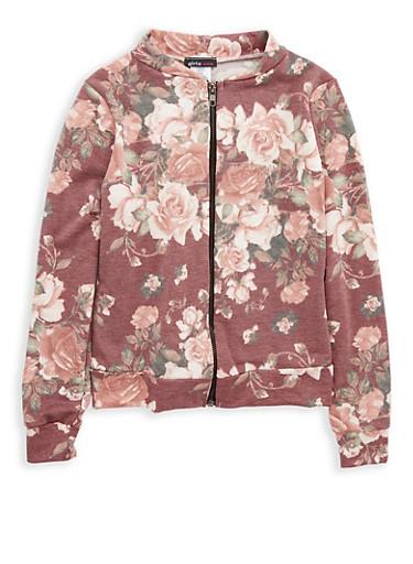 Girls 7-16 Floral Print Zip Up Jacket,WINE,large