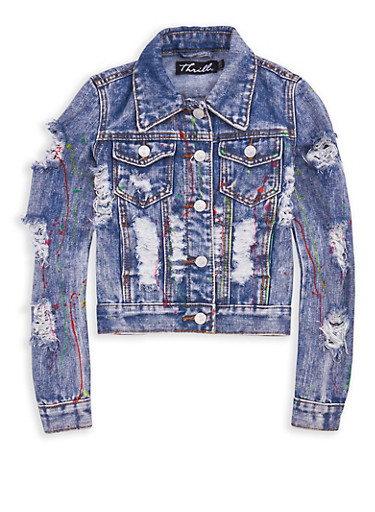 Girls 7-16 Paint Splatter Destroyed Denim Jacket,DENIM,large