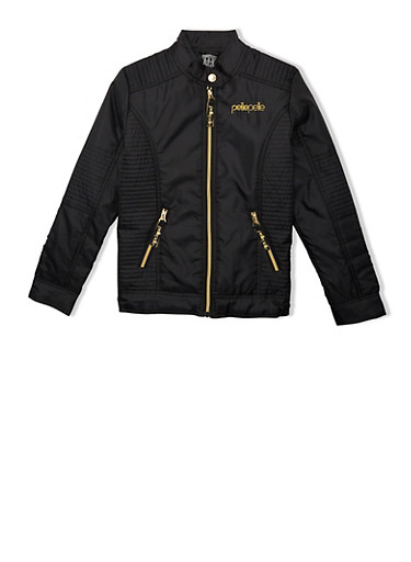Girls 7-16 Black Pelle Pelle Moto Jacket with Zipper Pockets and Rib Trim,BLACK,large