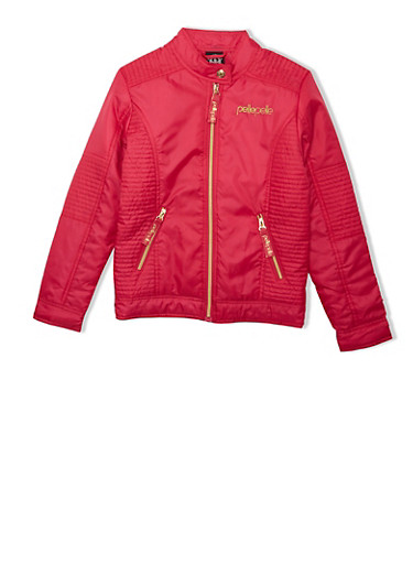Girls 7-16 Red Pelle Pelle Moto Jacket with Zipper Pockets and Ribbed Trim,BRIGHT ROSE,large